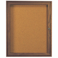 "Aarco Products 1 Door Enclosed Bulletin Board with Natural Pebble Grain Cork Back Panel and Walnut Stained Red Oak Frame - 36""Hx30""W [WBC3630R]"