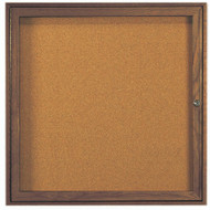 "Aarco Products 1 Door Enclosed Bulletin Board with Natural Pebble Grain Cork Back Panel and Walnut Stained Red Oak Frame - 36""Hx36""W [WBC3636R]"