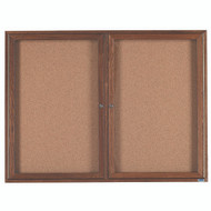 "Aarco Products 2 Door Enclosed Bulletin Board with Natural Pebble Grain Cork Back Panel and Walnut Stained Red Oak Frame - 36""Hx48""W [WBC3648R]"
