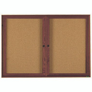 "Aarco Products 2 Door Enclosed Bulletin Board with Natural Pebble Grain Cork Back Panel and Walnut Stained Red Oak Frame - 36""Hx60""W [WBC3660R]"