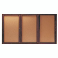 "Aarco Products 3 Door Enclosed Bulletin Board with Natural Pebble Grain Cork Back Panel and Walnut Stained Red Oak Frame - 36""Hx72""W [WBC3672-3R]"