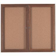 "Aarco Products 2 Door Enclosed Bulletin Board with Natural Pebble Grain Cork Back Panel and Walnut Stained Red Oak Frame - 48""Hx60""W [WBC4860R]"