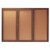 "Aarco Products 3 Door Enclosed Bulletin Board with Natural Pebble Grain Cork Back Panel and Walnut Stained Red Oak Frame - 48""Hx72""W [WBC4872-3R]"