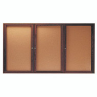 "Aarco Products 3 Door Enclosed Bulletin Board with Natural Pebble Grain Cork Back Panel and Walnut Stained Red Oak Frame - 48""Hx96""W [WBC4896-3R]"