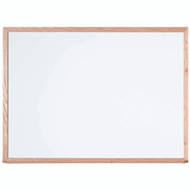 "Aarco Products White Porcelain Enamel on Steel Marker Board with Red Oak Frame - 36""Hx48""W [WOS3648]"