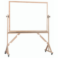 "Aarco Products Reversible Free Standing Melamine White Marker Board with Red Oak Frame Board - 36""Hx48""W [WRC3648]"