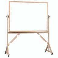 "Aarco Products Reversible Free Standing Melamine White Marker Board with Red Oak Frame Board - 48""Hx72""W [WRC4872]"