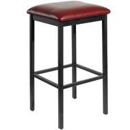 BFM Seating Trent Black Metal Backless Bar Stool with Vinyl Seat [2510B-SB]