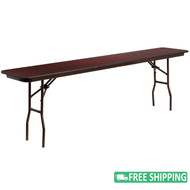 10-pack Advantage 18'' x 96'' Mahogany Rectangular High Pressure Laminate Folding Table [10-YT-1896-HIGH-WAL-GG]