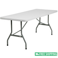 10-pack Advantage 6 ft. White Plastic Folding Tables [10-RB-3072-GG]