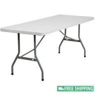 10-pack Advantage 6 ft. White Plastic Folding Tables [10-RB-3072-GG]