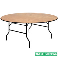 15-pack Advantage 6 ft. Round Wood Folding Banquet Tables [15-YT-WRFT72-TBL-GG]
