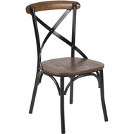 Advantage Fruitwood Metal X-back Chair [X-BACK-METAL-FW]
