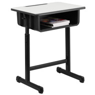 Advantage Student Desk with Grey Top and Adjustable Height Black Pedestal Frame [YU-YCY-046-GG]