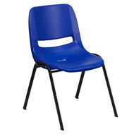 Advantage 440 lb. Capacity Kids Navy Ergonomic Shell Stack Chair with Black Frame and 12'' Seat Height [RUT-12-NVY-BLACK-GG]