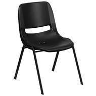 Advantage 440 lb. Capacity Kids Black Ergonomic Shell Stack Chair with Black Frame and 14'' Seat Height [RUT-14-PDR-BLACK-GG]