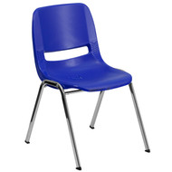 Advantage 440 lb. Capacity Navy Ergonomic Shell Stack Chair with Chrome Frame and 14'' Seat Height [RUT-14-NVY-CHR-GG]