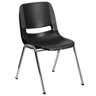 Advantage 661 lb. Capacity Black Ergonomic Shell Stack Chair with Chrome Frame and 16'' Seat Height [RUT-16-BK-CHR-GG]