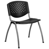 Advantage 880 lb. Capacity Black Plastic Stack Chair with Titanium Frame [RUT-F01A-BK-GG]