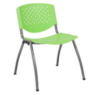 Advantage 880 lb. Capacity Green Plastic Stack Chair with Titanium Frame [RUT-F01A-GN-GG]