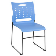 Advantage 881 lb. Capacity Blue Sled Base Stack Chair with Air-Vent Back [RUT-2-BL-GG]