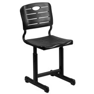 Advantage Black Adjustable Height Student Chair with Black Pedestal Frame [YU-YCX-09010-GG]