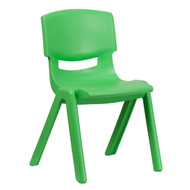 Advantage Green Plastic Stackable School Chair with 15.5'' Seat Height [YU-YCX-005-GREEN-GG]