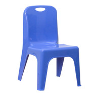 Advantage Blue Plastic Stackable School Chair with Carrying Handle and 11'' Seat Height [YU-YCX-011-BLUE-GG]