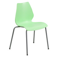 Advantage 770 lb. Capacity Green Stack Chair with Lumbar Support and Silver Frame [RUT-288-GREEN-GG]