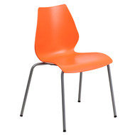 Advantage 770 lb. Capacity Orange Stack Chair with Lumbar Support and Silver Frame [RUT-288-ORANGE-GG]