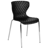 Advantage Lowell Contemporary Design Black Plastic Stack Chair [LF-7-07C-BLK-GG]