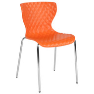 Advantage Lowell Contemporary Design Orange Plastic Stack Chair [LF-7-07C-ORNG-GG]