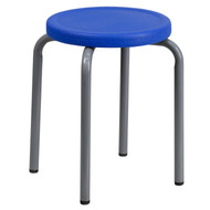 Advantage Stackable Stool with Blue Seat and Silver Powder Coated Frame [YK01B-BL-GG]