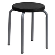 Advantage Stackable Stool with Black Seat and Silver Powder Coated Frame [YK01B-GG]