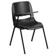 Advantage Black Ergonomic Shell Chair with Right Handed Flip-Up Tablet Arm [RUT-EO1-BK-RTAB-GG]