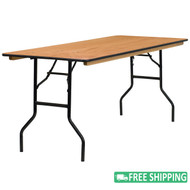 10-pack Advantage 6 ft. Wood Folding Banquet Tables [10-YT-WTFT30X72-TBL-GG]