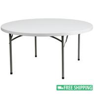 10-pack Advantage 5 ft. Round Plastic Folding Tables [10-DAD-YCZ-152R-GW-GG]