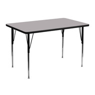 Advantage 30''W x 48''L Rectangular Grey Thermal Laminate Activity Table - Standard Height Adjustable Legs [XU-A3048-REC-GY-T-A-GG]