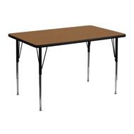 Advantage 30''W x 48''L Rectangular Oak Thermal Laminate Activity Table - Standard Height Adjustable Legs [XU-A3048-REC-OAK-T-A-GG]