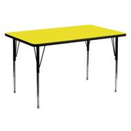 Advantage 30''W x 60''L Rectangular Yellow HP Laminate Activity Table - Standard Height Adjustable Legs [XU-A3060-REC-YEL-H-A-GG]