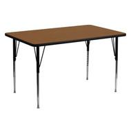 Advantage 30''W x 60''L Rectangular Oak HP Laminate Activity Table - Standard Height Adjustable Legs [XU-A3060-REC-OAK-H-A-GG]