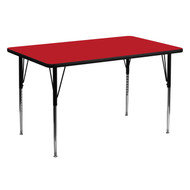 Advantage 30''W x 60''L Rectangular Red HP Laminate Activity Table - Standard Height Adjustable Legs [XU-A3060-REC-RED-H-A-GG]