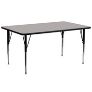 Advantage 30''W x 72''L Rectangular Grey HP Laminate Activity Table - Standard Height Adjustable Legs [XU-A3072-REC-GY-H-A-GG]
