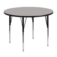 Advantage 48'' Round Grey HP Laminate Activity Table - Standard Height Adjustable Legs [XU-A48-RND-GY-H-A-GG]