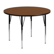 Advantage 48'' Round Oak HP Laminate Activity Table - Standard Height Adjustable Legs [XU-A48-RND-OAK-H-A-GG]