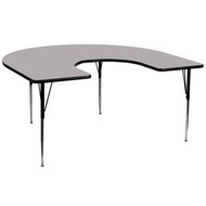 Advantage 60''W x 66''L Horseshoe Grey Thermal Laminate Activity Table - Standard Height Adjustable Legs [XU-A6066-HRSE-GY-T-A-GG]