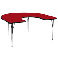 Advantage 60''W x 66''L Horseshoe Red Thermal Laminate Activity Table - Standard Height Adjustable Legs [XU-A6066-HRSE-RED-T-A-GG]