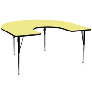 Advantage 60''W x 66''L Horseshoe Yellow Thermal Laminate Activity Table - Standard Height Adjustable Legs [XU-A6066-HRSE-YEL-T-A-GG]