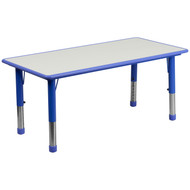 Advantage 23.625''W x 47.25''L Rectangular Blue Plastic Height Adjustable Activity Table with Grey Top [YU-YCY-060-RECT-TBL-BLUE-GG]