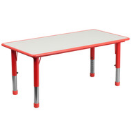 Advantage 23.625''W x 47.25''L Rectangular Red Plastic Height Adjustable Activity Table with Grey Top [YU-YCY-060-RECT-TBL-RED-GG]